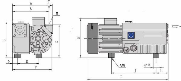Single Stage Rotary Vane Vacuum Pump Model X 10 - X 25