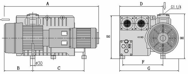 Single Stage Rotary Vane Vacuum Pump Model X 40 - X 100